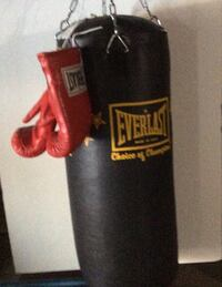 Black Everlast heavy bag with red boxing gloves Model 4604 40 lbs (18kg)