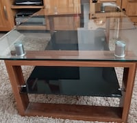 brown wooden framed glass top TV stand LONDON
