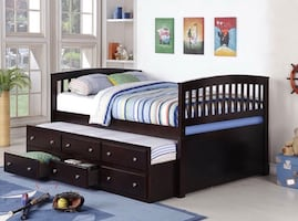 Full size bed with mattress and trundle