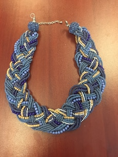 Statement necklace - blue & brown seed bead