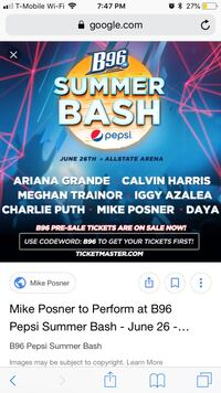 2 tickets for summer bash Winfield, 46307