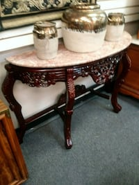Heavy solid marble & cherry wood entryway table 1212 mi