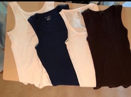 4 size S/M tank tops - white, Navy, brown