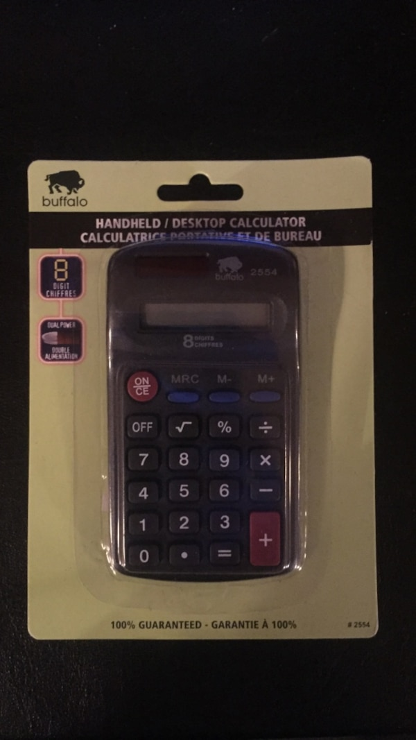 used black buffalo handheld desktop calculator with slide blister