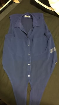 Blue button-up collared vest Vancouver