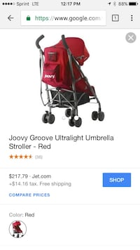 Red and gray joovy groove umbrella stroller