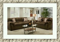 Chocolate fabric sofa and love seat free delivery  Gaithersburg