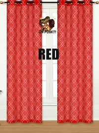 2 PC GROMMET FAUX SILK WINDOW CURTAIN SET (RED)