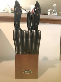 Brown wooden Oster kitchen knife set with block Grand Forks, 58201