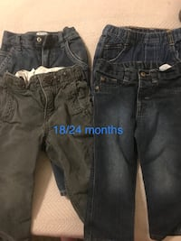 toddler's four blue denim jeans