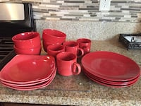 red ceramic plates and bowls Beaumont, 92223