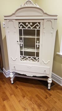 Antique White wooden framed glass display cabinet
