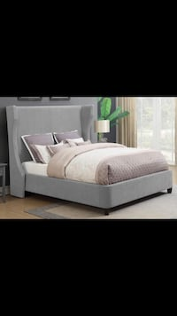 Queen grey bed frame with nail head accent trim Jacksonville, 32244