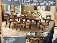 rectangular brown wooden table with six chairs dining set Sunbury, 17801