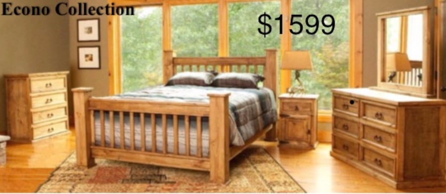 Sold Rustic 4 Post Mansion Queen Size Bedroom Set Made Of Solid