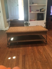 Wicker coffee table and end table