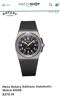 Rotary Edition 600 Gents Automatic Black Rubber Strap Watch