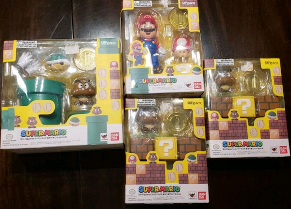 assorted-color action figure boxes