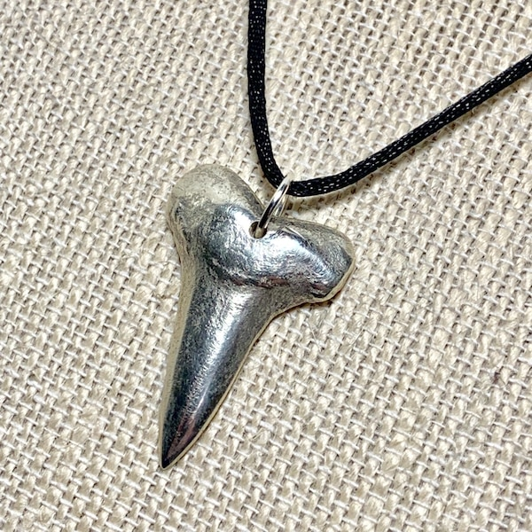 Genuine Hand Cast Sterling Silver Sharks Tooth Pendant