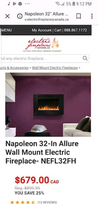"32"" ALLURE ELECTRIC FIREPLACE Surrey, V3W 8J8"