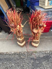 Brown Wicker Baskets with long stem red and brown artificial plant