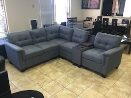 FABRIC SECTIONAL SOFA WITH CONSOLE SALE!!!