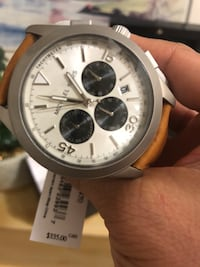 round silver chronograph watch with white strap Vaughan, L4H 4K2