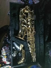 brass saxophone with case