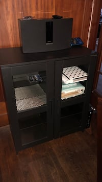 black wooden TV hutch with cabinet San Diego, 92101