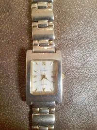 square silver analog watch with link bracelet Columbus