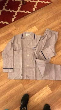 gray and black button-up pajama top and pants
