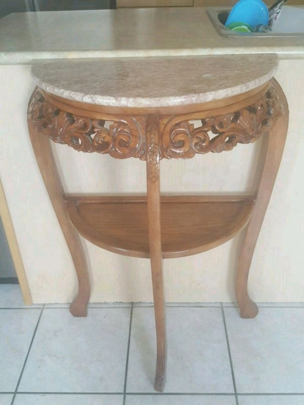 Antique wood and marble entryway table