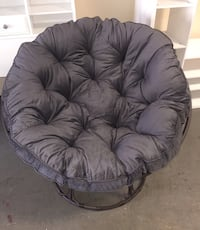 New Papasan Chair with Cushion, Charcoal Grey