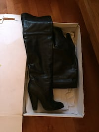 Pair of black leather knee-high heeled boots from aldo worn twice  ! sz 8 Oro-Medonte, L0K
