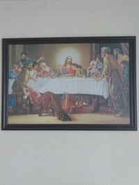 brown wooden framed painting of Last Supper Los Angeles, 90012