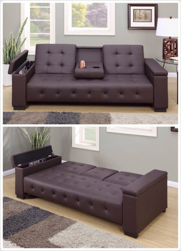 NEW Adjustable Sofa Bed Futon Sleeper Couch Drop Down Console Storage  Armrest Espresso Faux Leather