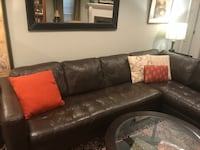 "Beautiful dark genuine leather sectional couch. 116""x38""x38""x83"" long chaise.  Bethesda"