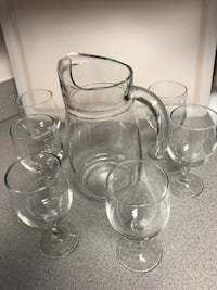 Glass pitcher and 6 glasses Dumfries