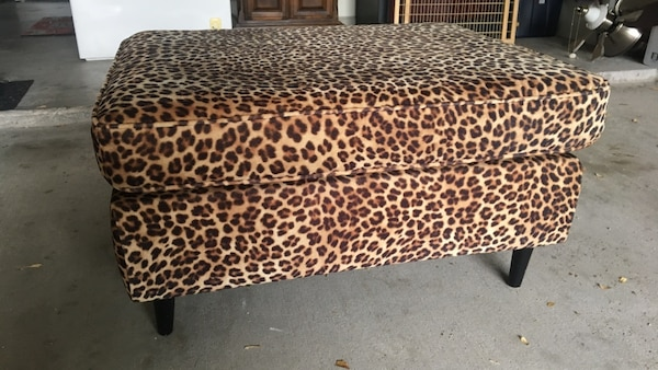Pleasing Brown And Black Leopard Print Ottoman Bench Caraccident5 Cool Chair Designs And Ideas Caraccident5Info