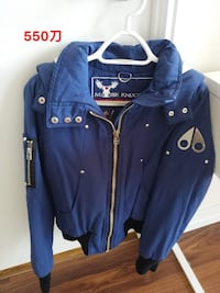 Blue and white moose knuckle full zip jacket