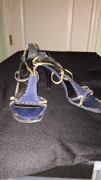 pair of blue leather open-toe ankle strap heels Corpus Christi, 78414