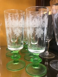 7 green footed etched brandy/liquor glasses Toronto, M2R 3N1