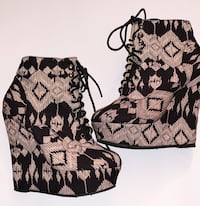 Final Sale Tribal Pattern Lace Up Wedges Des Moines, 50316