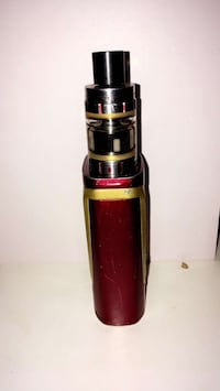 red and brown Smok Alien variable box mod with atomizer