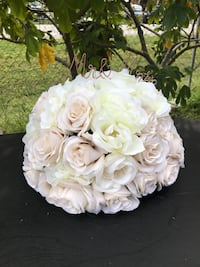 white and pink Rose flowers bouquet centerpiece with rose gold Mr & Mrs wire letters