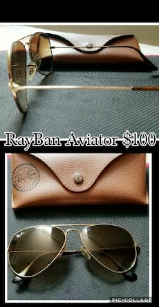 silver Rayban aviator sunglasses with case