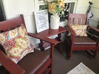 Farmhouse wood chairs and table