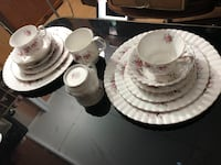 7 pieces/place setting; Royal Albert Lavender Rose England bone China. 2 place settings = $100 . Firm , price is not negotiated. Brand new condition.