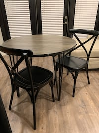 Round Dining Table and Cross Back Dining Chairs