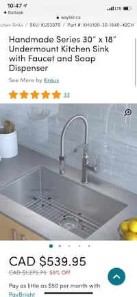 "Handmade Series 30"" x 18"" Undermount Kitchen Sink *In box**"